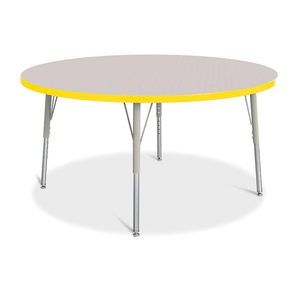 """Berries®Round Activity Table - 48"""" Diameter, E-Height - Gray/Yellow/Gray"""