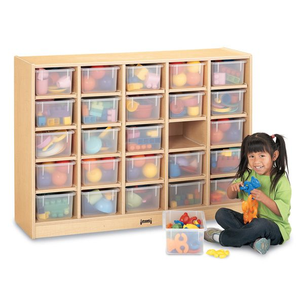 Maplewave®25 Cubbie-Tray Mobile Storage - With Clear Trays
