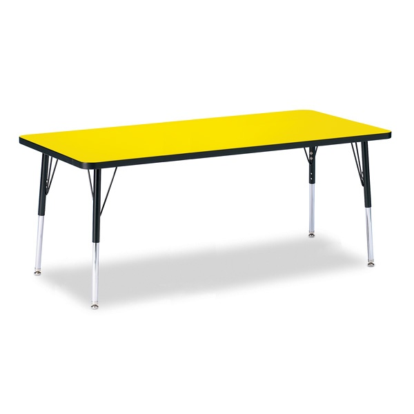 """Berries®Rectangle Activity Table - 30"""" X 72"""", E-Height - Yellow/Black/Black"""