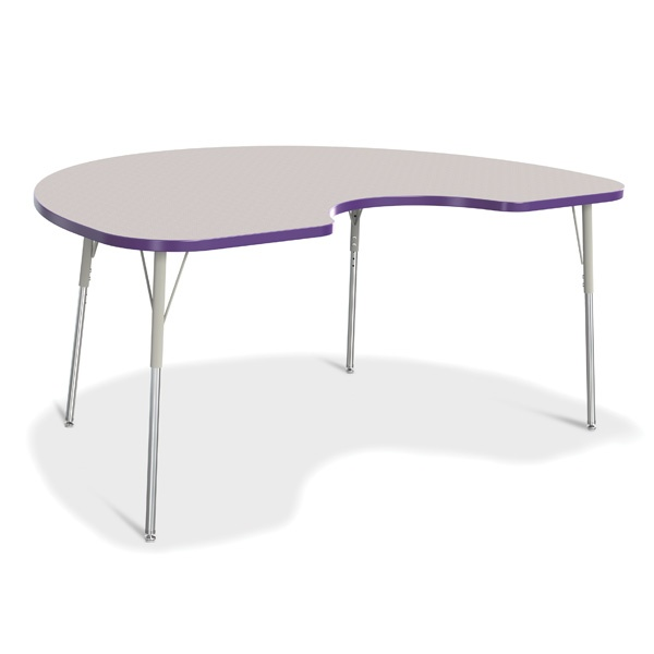"""Berries® Kidney Activity Table - 48"""" X 72"""", A-Height - Gray/Purple/Gray"""