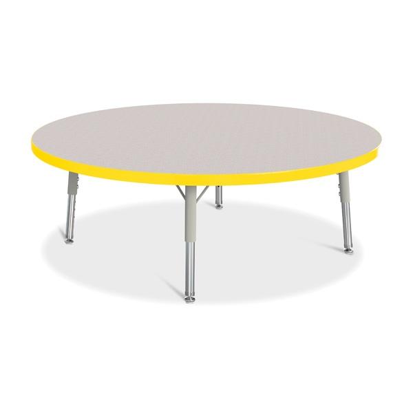 """Berries®Round Activity Table - 42"""" Diameter, T-Height - Gray/Yellow/Gray"""