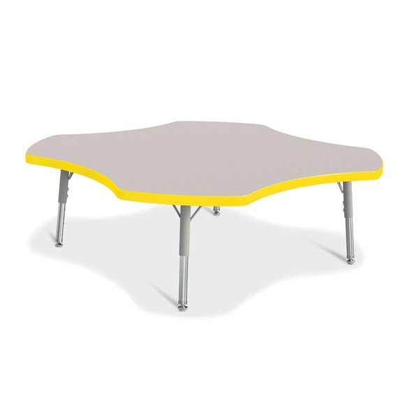 Berries®Four Leaf Activity Table, T-Height - Gray/Yellow/Gray