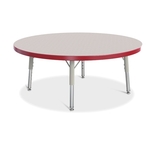 "Berries® Round Activity Table - 36"" Diameter, T-Height - Gray/Red/Gray"