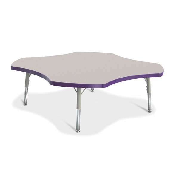 Berries®Four Leaf Activity Table, T-Height - Gray/Purple/Gray