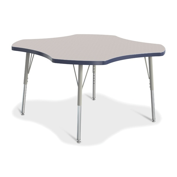 Berries® Four Leaf Activity Table, E-Height - Gray/Navy/Gray