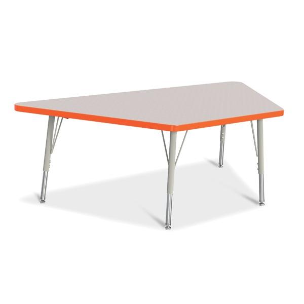 "Berries® Trapezoid Activity Tables - 30"" X 60"", E-Height - Gray/Orange/Gray"