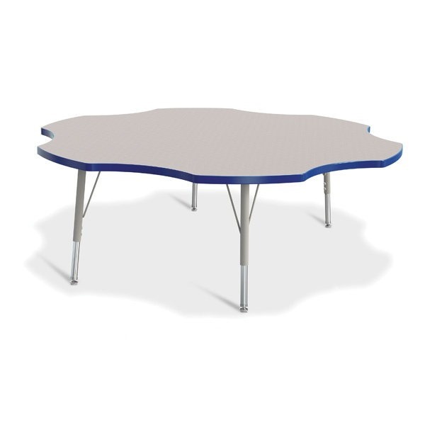 """Berries®Six Leaf Activity Table - 60"""", E-Height - Gray/Blue/Gray"""