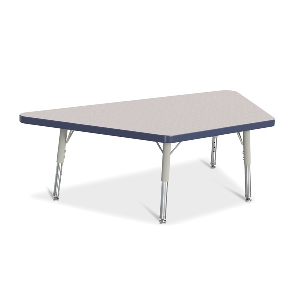 """Berries® Trapezoid Activity Tables - 24"""" X 48"""", T-Height - Gray/Navy/Gray"""