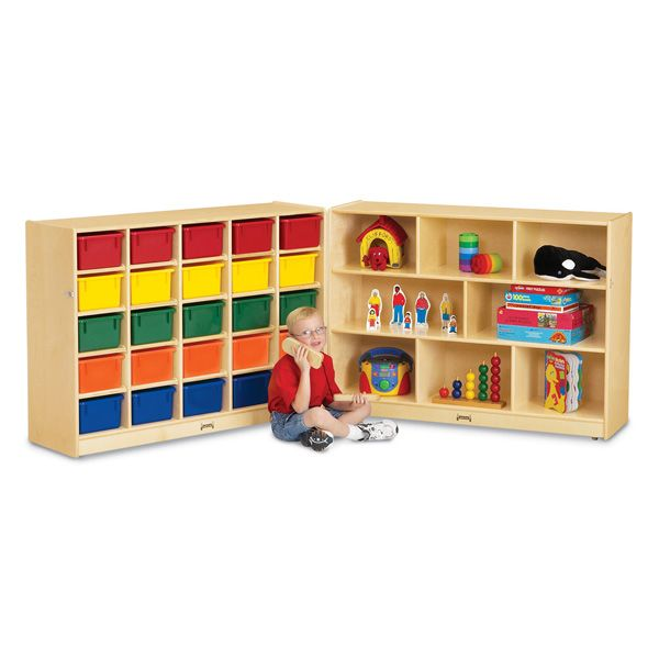 Jonti-Craft®25 Cubbie-Tray Mobile Fold-N-Lock - With Colored Trays