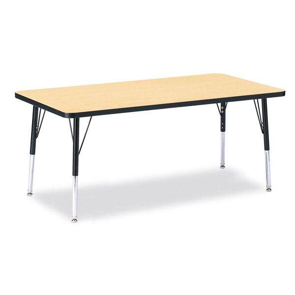 """Berries® Rectangle Activity Table - 30"""" X 60"""", E-Height - Maple/Black/Black"""