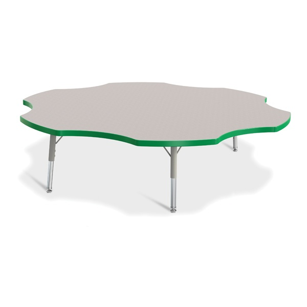 """Berries®Six Leaf Activity Table - 60"""", T-Height - Gray/Green/Gray"""