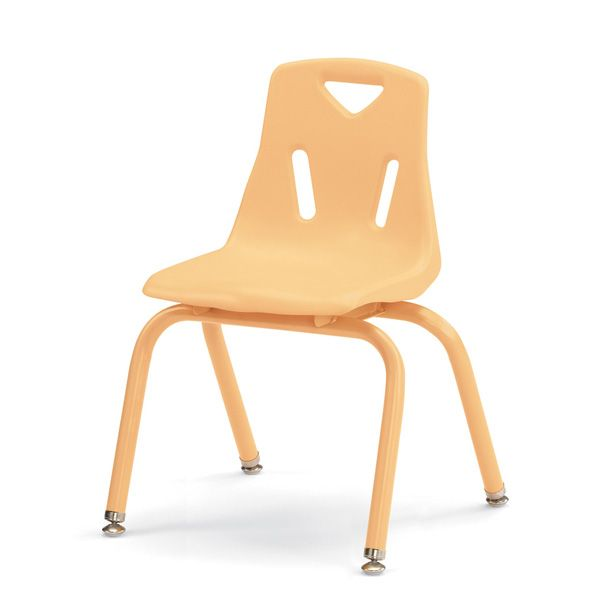 """Berries® Stacking Chairs With Powder-Coated Legs - 14"""" Ht - Set Of 6 - Camel"""