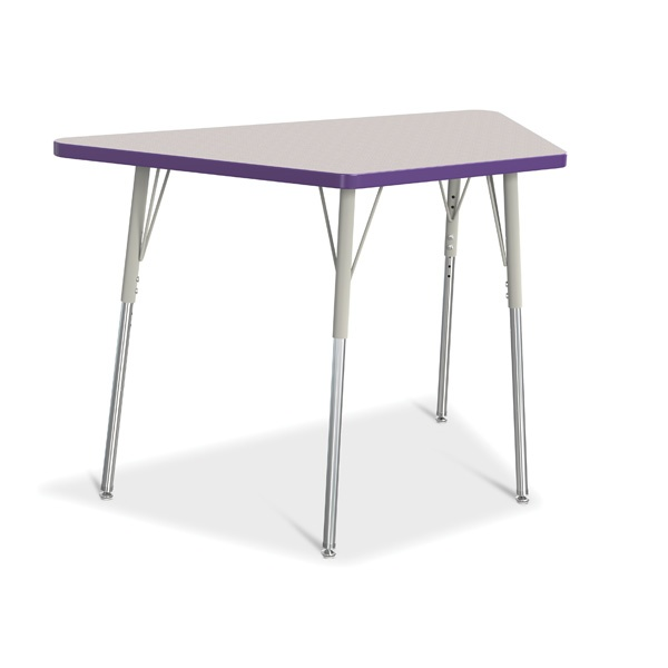 """Berries® Trapezoid Activity Tables - 24"""" X 48"""", A-Height - Gray/Purple/Gray"""