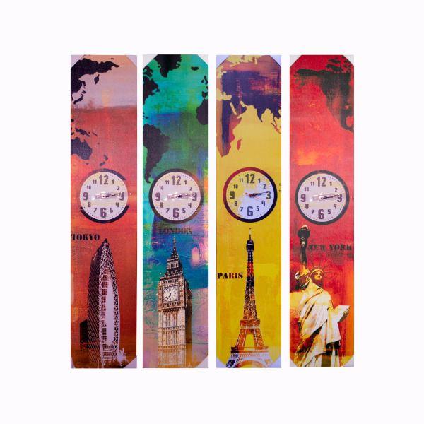 World Landmark Canvas Wrap Art With Clock