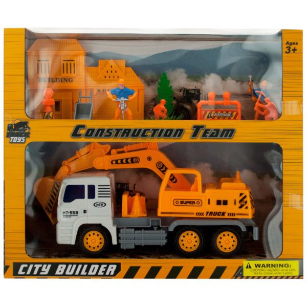 Friction Powered Loader Truck & Construction Team Set, Pack Of 2