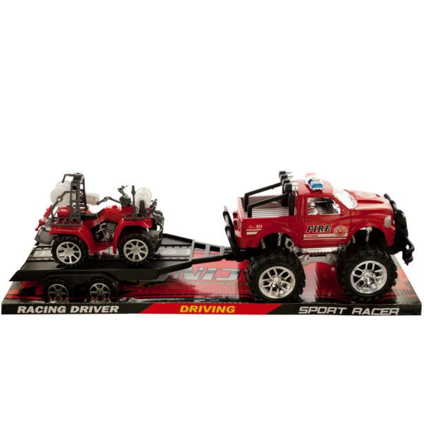 Friction Powered Fire Rescue Trailer Truck With Atv, Pack Of 2