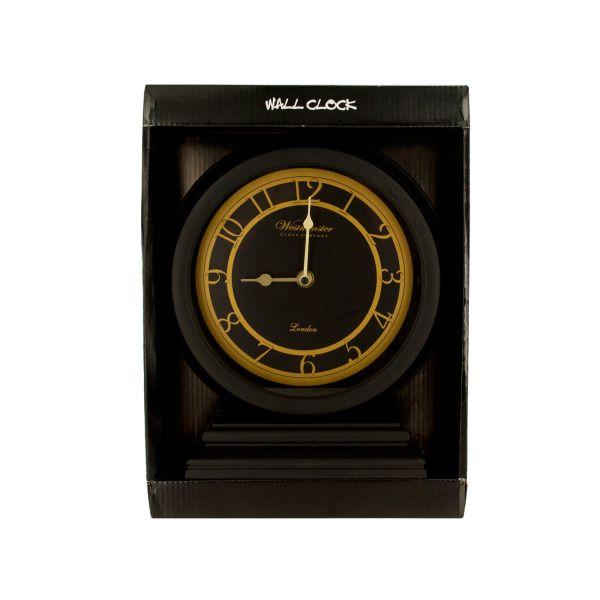 Black & Gold Clock With Beveled Base