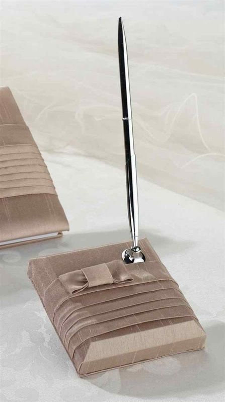 Taupe Pleated Silk Pen Set
