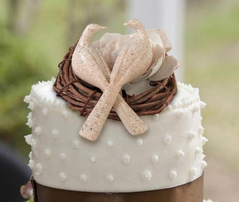 Grey Stone Doves Wedding Cake Topper