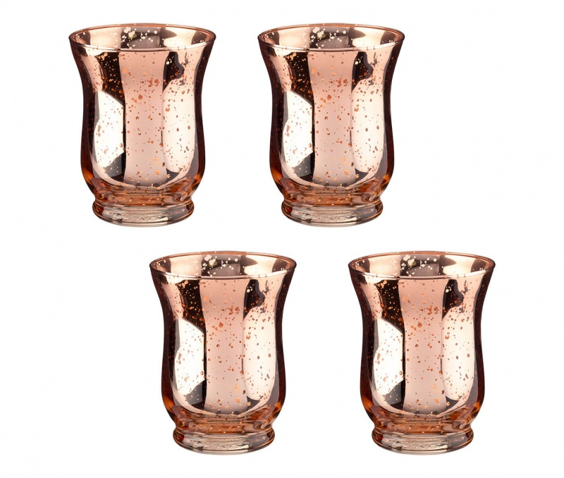 Copper Mercury Tulip Shaped Glass Votive Or Tea Light Holders In Set Of 4
