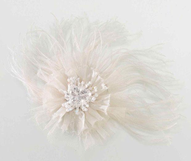 Ivory Marabou Feather Hair Clip