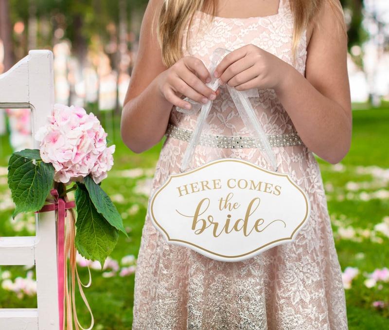 Here Comes The Bride Flower Girl Ring Bearer Sign