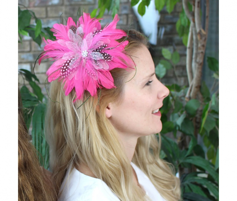 Hot Pink Feather Hair Clip