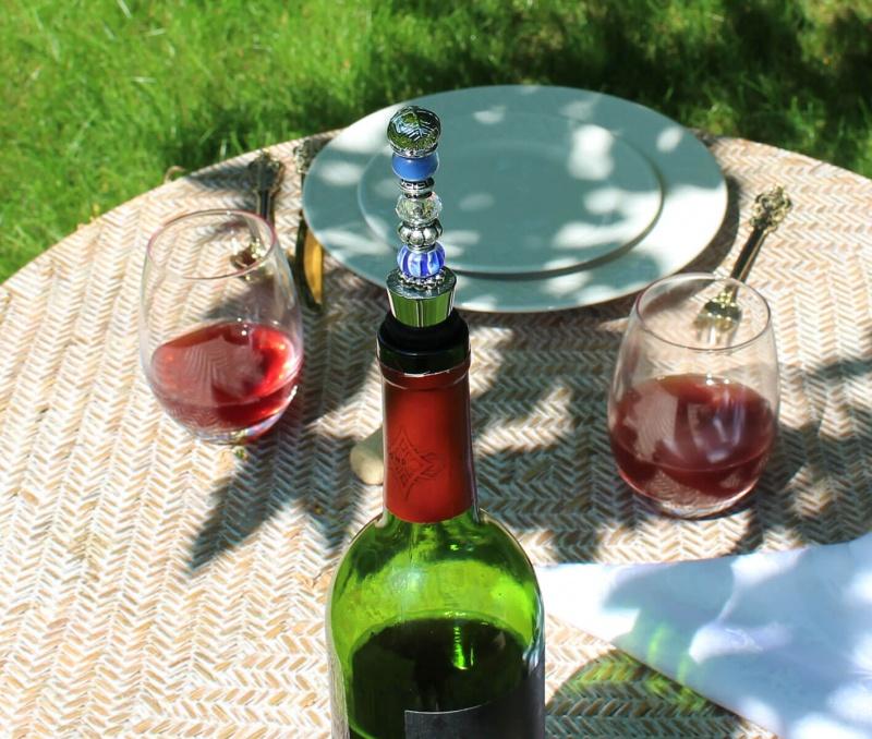 Blue Beaded Wine Stopper