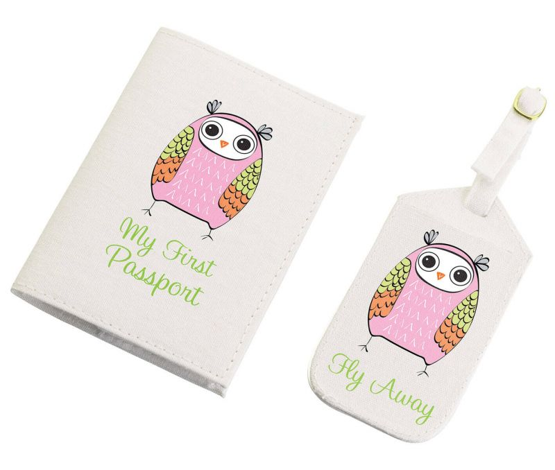 Pink Owl Luggage Tag & Passport Set
