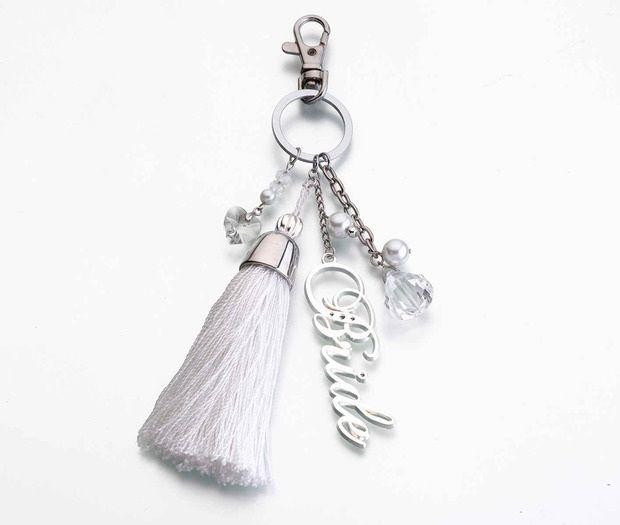 Silver & White Bride Keychain