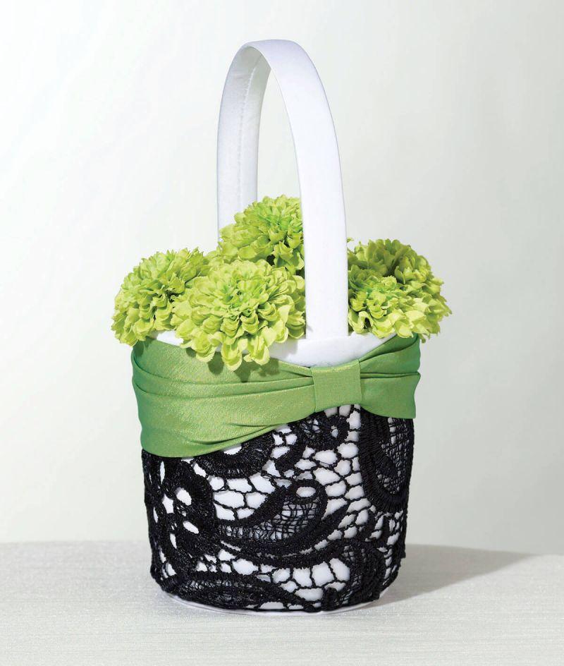 Green & Black Flower Girl Basket