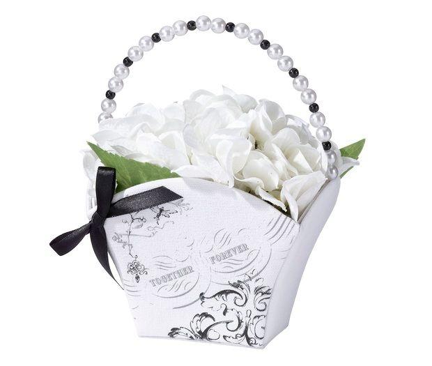 Black & White Together Forever Flower Girl Basket