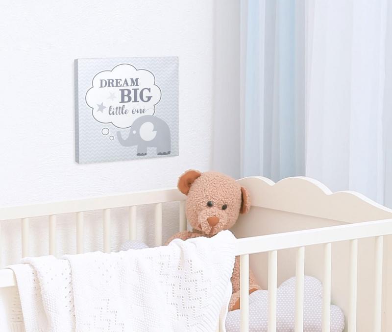 """Dream Big"" Elephant Nursery Canvas"