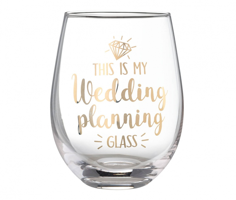 """""""This Is My Wedding Planning Glass"""" Stemless Wine Glass"""