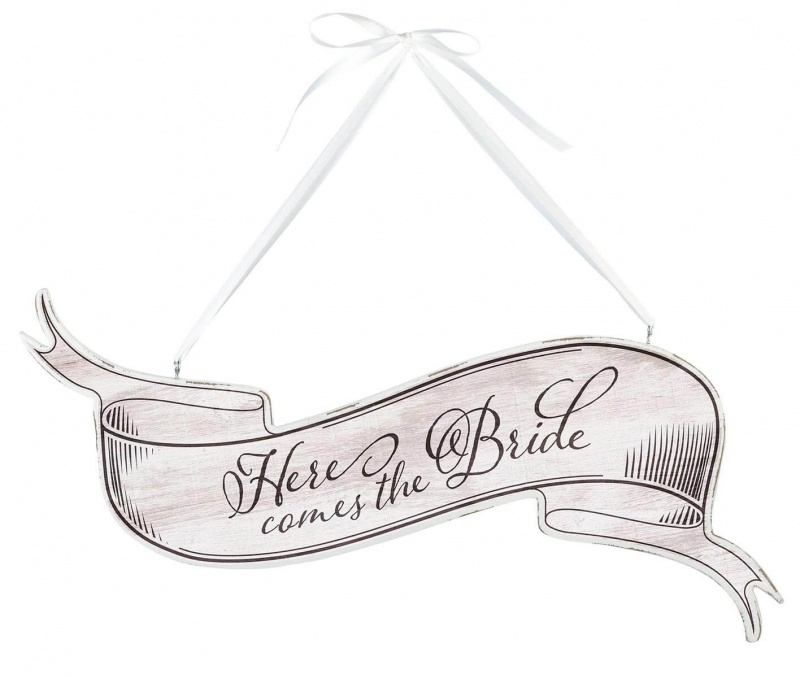 White Vintage Here Comes The Bride Wedding Sign