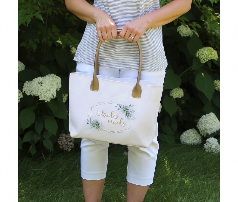 Botanical Watercolor And Gold Geometric Bridesmaid Wedding Tote Bag