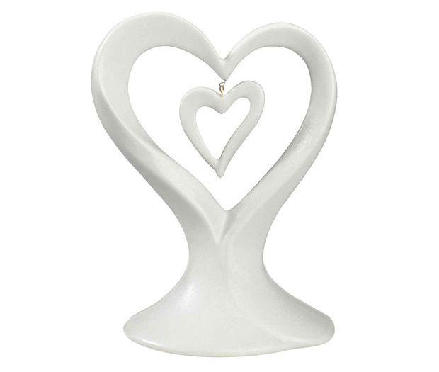 White Dangling Double Heart Wedding Cake Topper