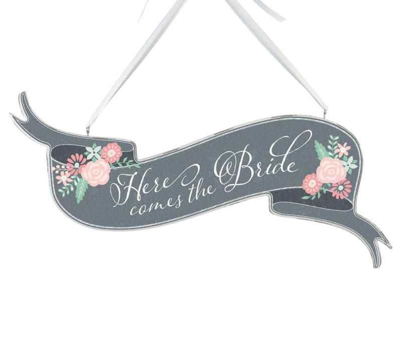 Black Vintage Here Comes The Bride Wedding Sign