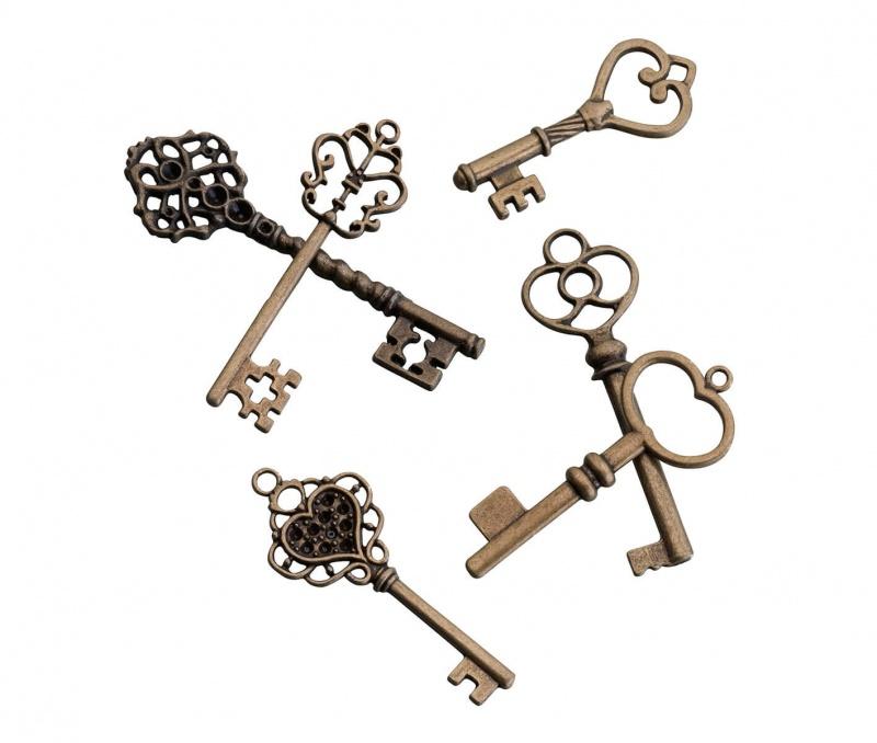24 Vintage Bronze Key Tags