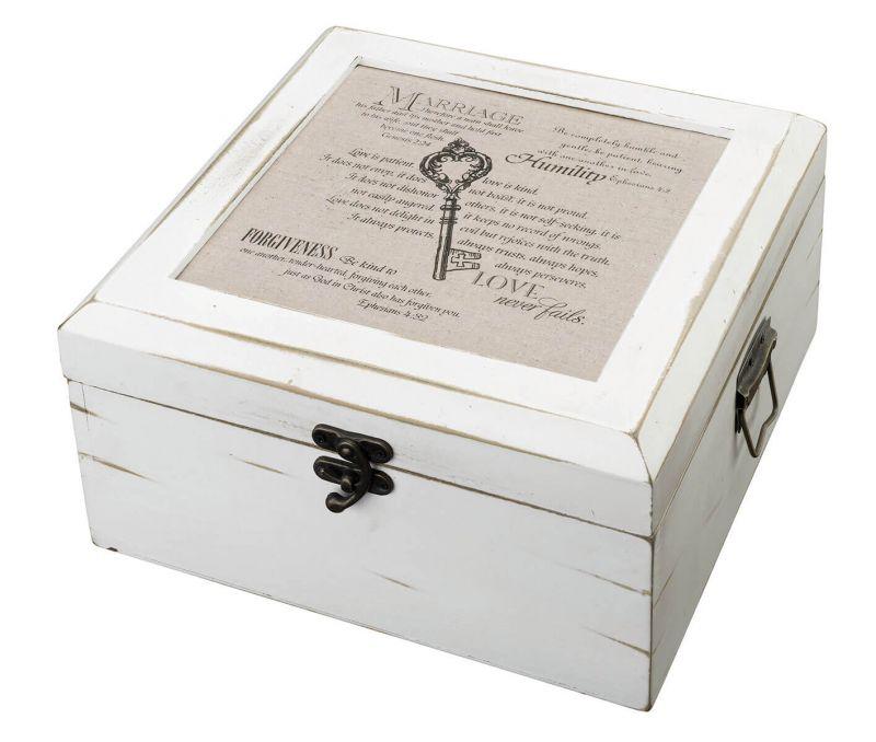 Antique White Wood Christian Card Box