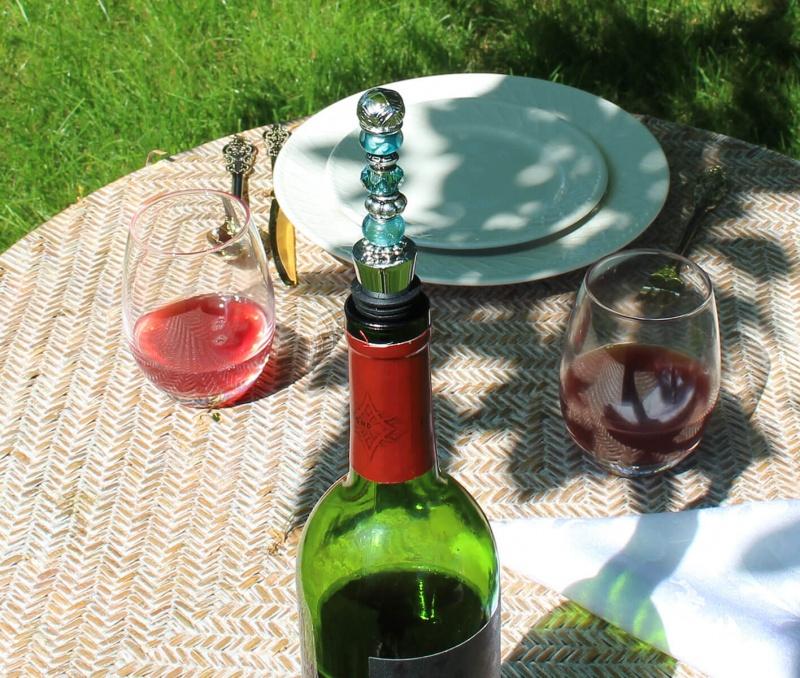 Aqua Beaded Wine Stopper