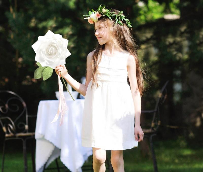 """10"""" White Stemmed Rose Decoration"""