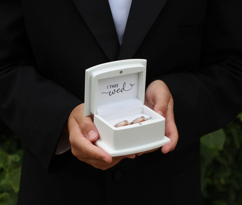 """White Ring Box Ring Pillow Alternative """"With These Ring, I Thee Wed"""""""
