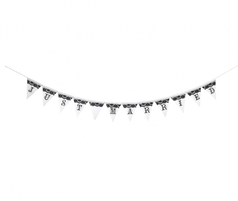 Black & White Just Married Bunting Banner