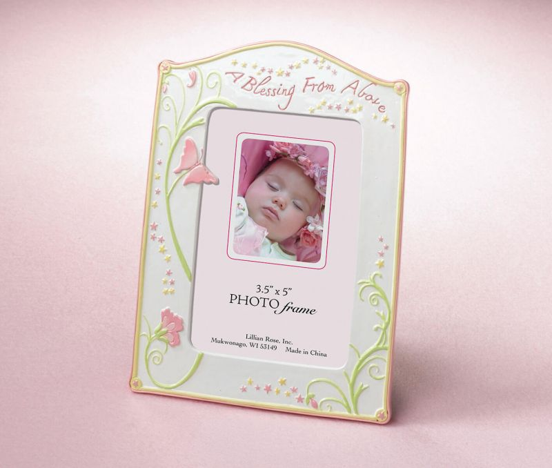 Pink Butterfly Baby Picture Frame