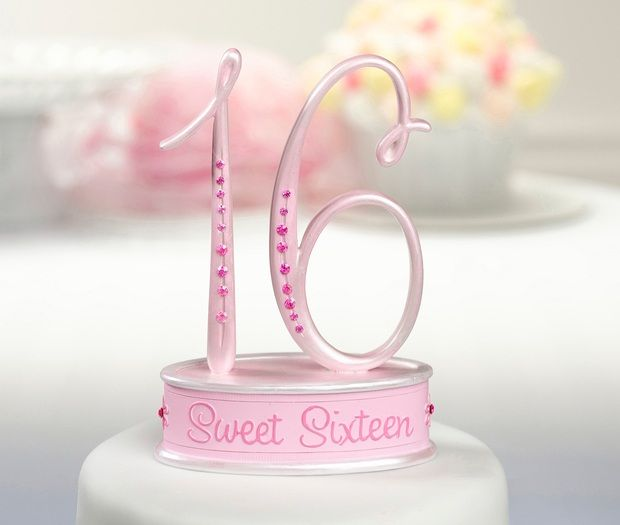 Pink Sweet Sixteen Cake Topper