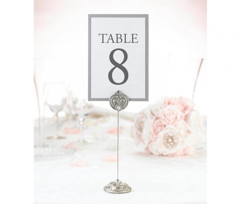4 Elegant Silver Jeweled Table Markers