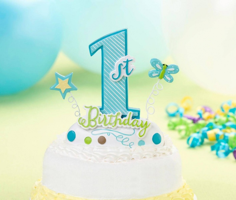 First Birthday Blue Cake Topper