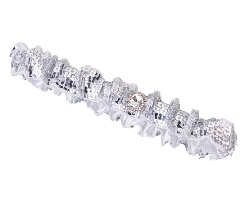 Sparkly Silver Sequin Garter