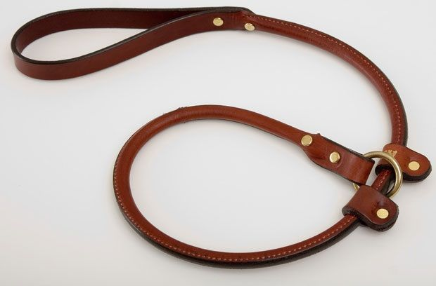 Leather Handler Slip Leash - Chestnut